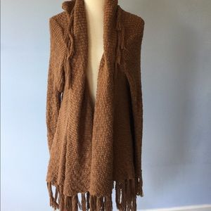 Brown fringe cardigan